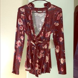 NWT Burgundy altard state low-cut long sleeve top